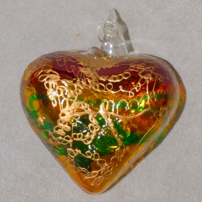 Christmas Ornament ART GLASS Valentine 💖  HEART PUFFY Hand Painted USA SELLER