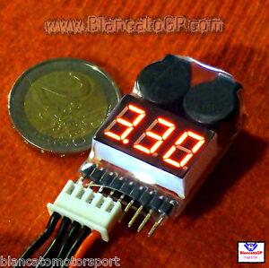 TESTER-con-CICALINO-batterie-2S-8S-Lipo-Li-ion-LiFe-voltmetro-tensione-buzzer