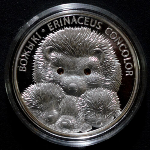 Belarus 2011 20 rubles Hedgehog with Family 1oz Silver Proof Coin w/ certificate