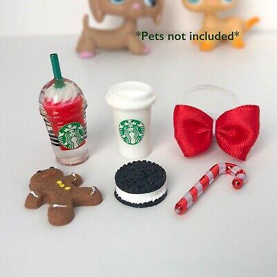 Littlest Pet Shop 6 PC Starbucks Accessory Lot Custom LPS Accessories Christmas ()
