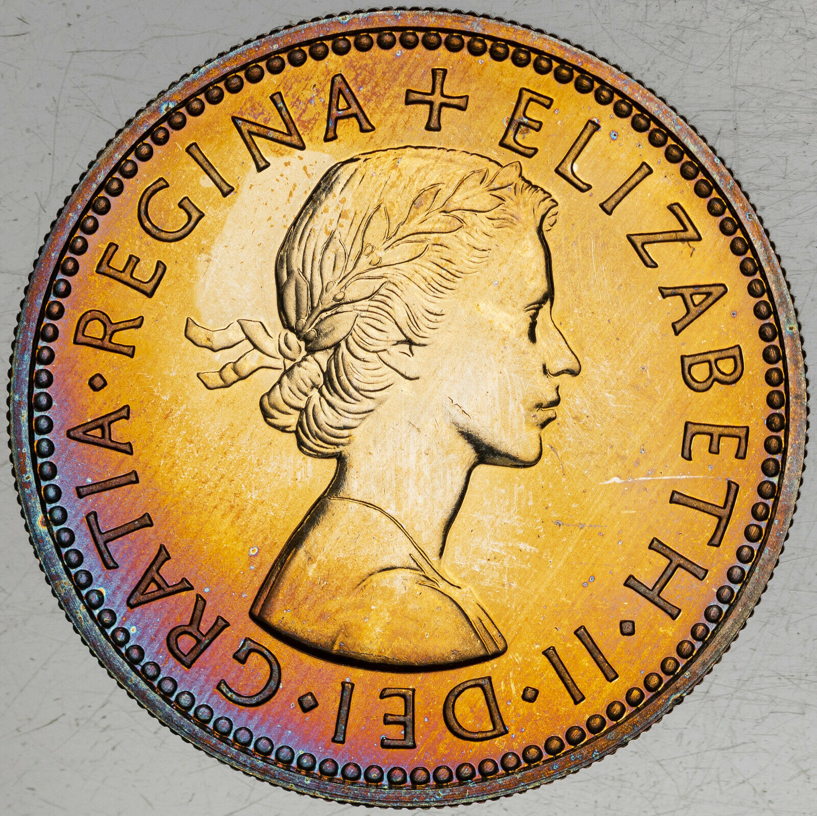 1970 GREAT BRITAIN 1 SHILLING PROOF VIBRANT NEON COLOR BU UNC TONED APPEAL MR  - $74.99