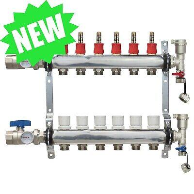 6 Loopport Stainless Steel Pex Manifold Radiant Heating W Connectors - Pex Guy
