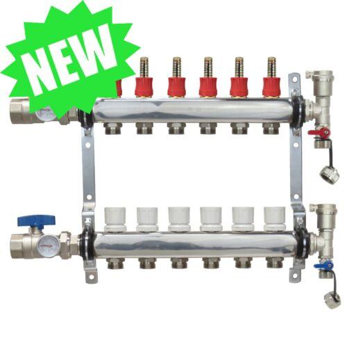 6 Loop/Port Stainless Steel PEX Manifold Radiant Heating w/ connectors - PEX GUY