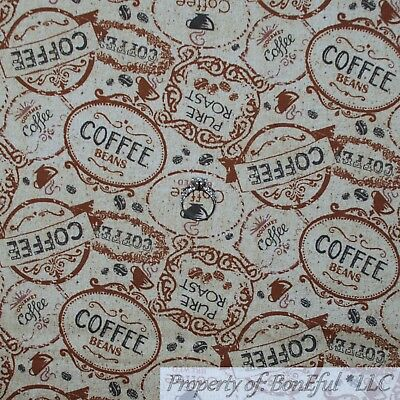 BonEful Fabric FQ Cotton Quilt Brown Tan Red Roast Coffee House Mug Cup Joe (Red Cup Coffee House)