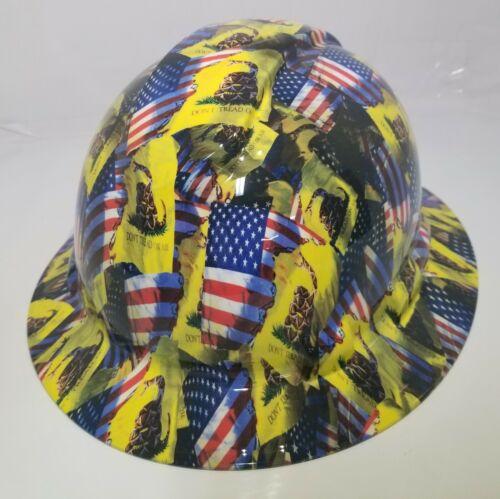 FULL BRIM Hard Hat custom hydro dipped , NEW DON'T TREAD ON ME , USA FLAG 3