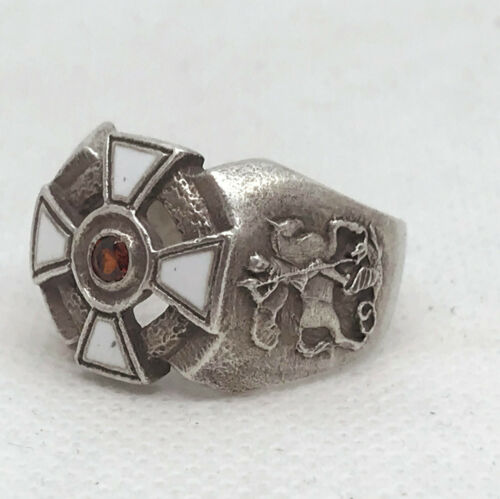 Russian Imperial Enamel 84 Silver ring with St.George Cross.