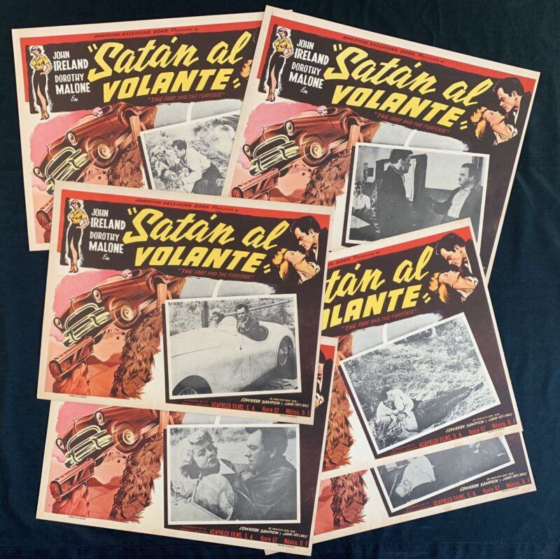 THE FAST AND THE FURIOUS John Ireland RACE CAR LOBBY CARD SET ROGER CORMAN 1954