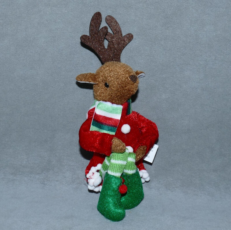 "Christmas PIXIE KNEE HUGGER ORNAMENT NEW Reindeer Boy Red 11"" USA SELLER"