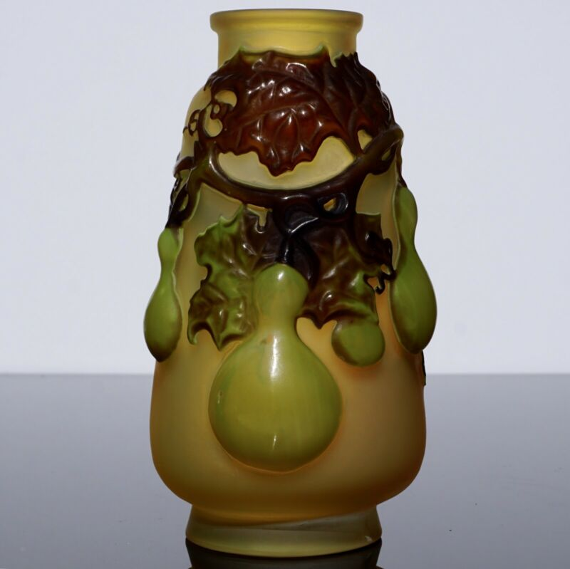 EMILE GALLE BLOWN OUT GOURD AND VINES VASE CA. 1890
