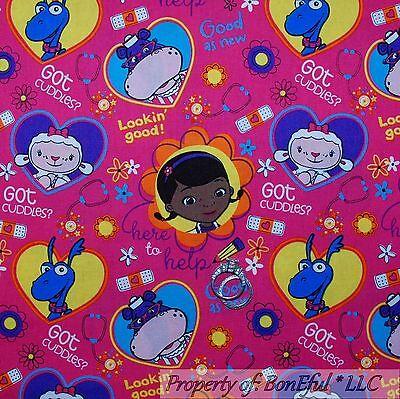 BonEful Fabric FQ Cotton Quilt Girl Dr Doc Mc*Stuffins Heart Cancer Child Flower](Doctor Stuffins)