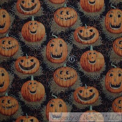 BonEful Fabric FQ Cotton Quilt VTG Black Orange Pumpkin Jack O Lantern Vine - Vintage Halloween Quilting Fabric
