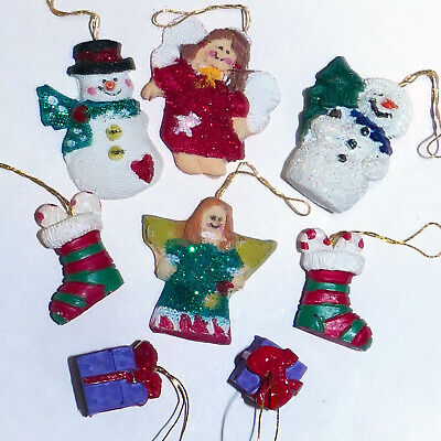 Christmas Ornament FEATHER TREE Ceramic Snowman Angel Stocking Presents Lot of 8