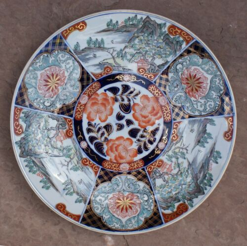 "Antique 19th Century Japanese Hand Painted Imari Porcelain 14.75"" Charger Signed"