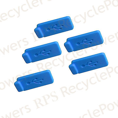 5 Blue gomma silicone antipolvere USB SPINA COPERTURA TAPPO PER COMPUTER