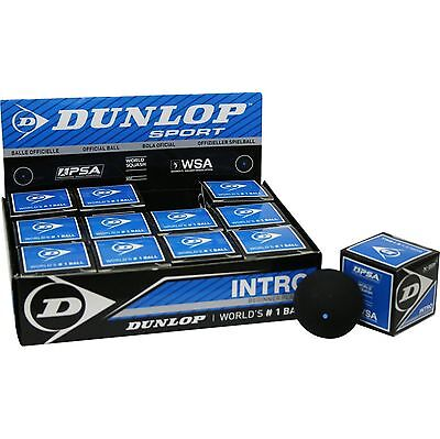 3 Dunlop Squashbälle Squashball INTRO - Anfänger + Hobbyspieler - 1 blauer Punkt