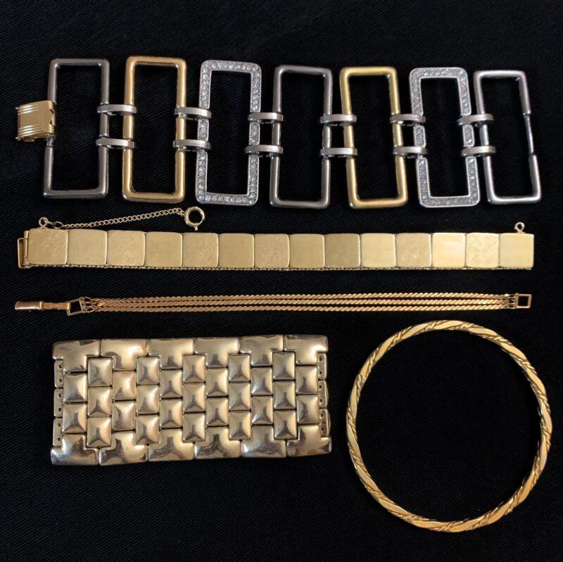 Vtg Gold Tone Bracelet Lot Of 5 Rhinestone Wide Texture Bangle All Wearable