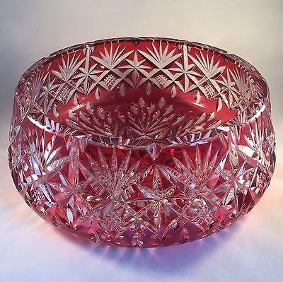 Stunning Crystal And Cranberry Glass Encased Large Fruit / Centre Bowl 2.4kilos