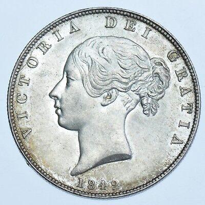 SCARCE 1842 HALFCROWN, BRITISH SILVER COIN FROM VICTORIA AU