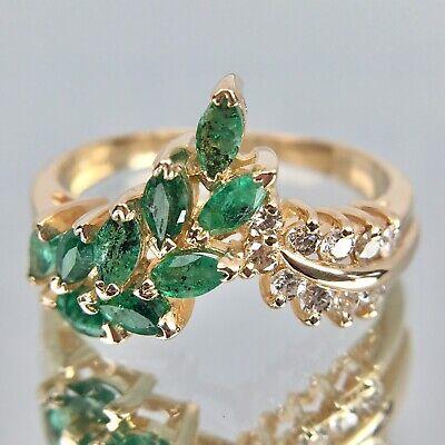 EFFY BH 14k Yellow Gold Emerald & Diamond Cluster Ring 14k Gold Diamond Cluster