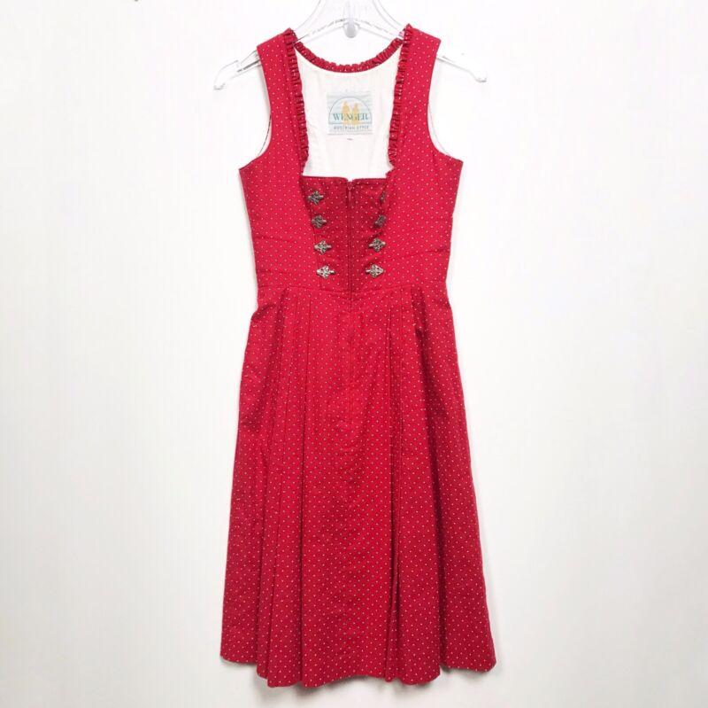 Vtg Wenger DIRNDL Dress German Oktoberfest Costume Size 32 / 2 XS Red Polka Dot
