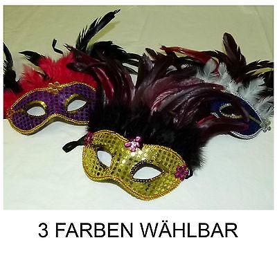 Federdomino mit Pailletten Augenmaske Maskenball Vogelmaske Kostüm (Maskenball Kostüm)