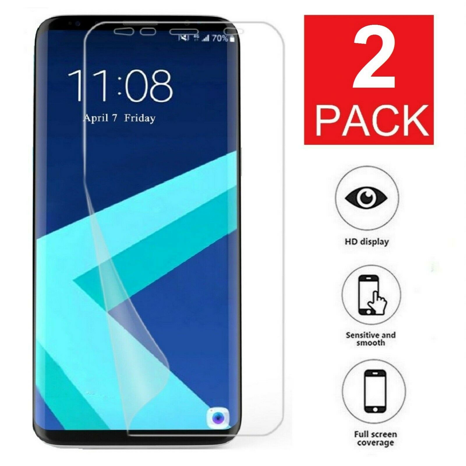 2-Pack Galaxy S8 S9 S10 Plus 10e 5G Note 8 9 Film Screen Pro