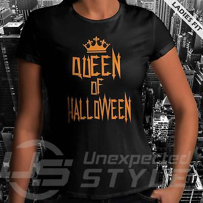 Queen Of Halloween Camiseta Divertido Calabaza Disfraz Calavera Mujer Niña](Halloween Divertido)