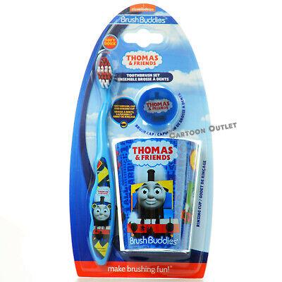Thomas The Train Gifts (3pcs Thomas the Train Toothbrush Cap & Rinsing Cup Set Birthday Gift New)