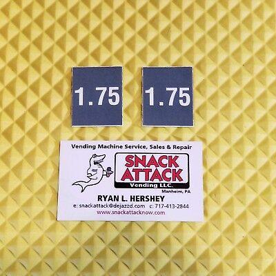 2 Soda Vending Machine 1.75 Vend Label Price Stickers Free Ship