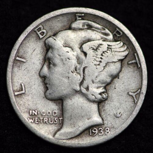 1938-D MERCURY DIME / CIRCULATED GRADE GOOD / VERY GOOD 90% SILVER COIN