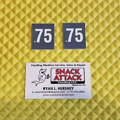 2 Soda Vending Machine .75 Cent Vend Label Price Stickers Free Ship