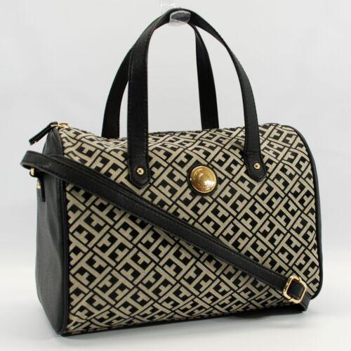 tommy hilfiger authentic black  beige cv satchel logo