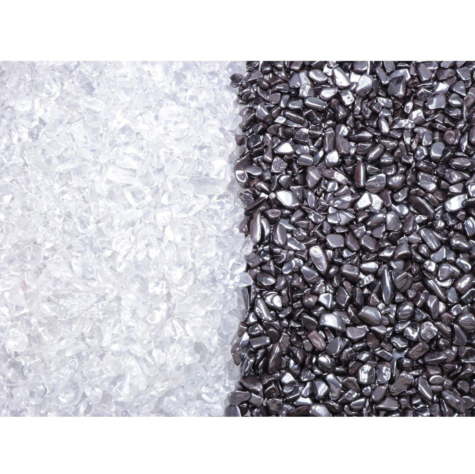 Ladesteine und Entladesteine Bergkristall Hämatit Mini Chips 400 gr (je 200 gr)