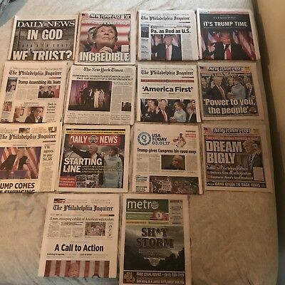 President Donald Trump Newspaper Lot (14) Covering The Election And Thereafter