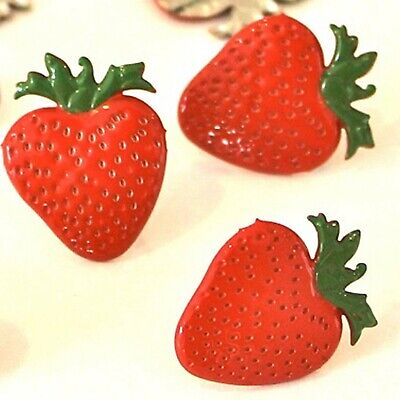 STRAWBERRY BRADS Fruit Dessert Snack Summer Scrapbooking Card Making Stamping