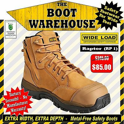 Wide Load Safety Work Boots, 'Raptor' (RP1). Extra Wide. Zip Side ...