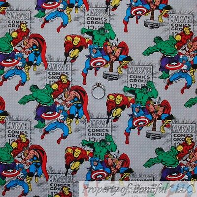 BonEful FABRIC Cotton Quilt AVENGER Marvel Comic Character Hulk Ironman NR SCRAP (Marvel Characters Costumes)