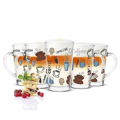 6 Latte Macchiato Gläser 300ml Kaffeegläser Teeglas bunter Aufdruck