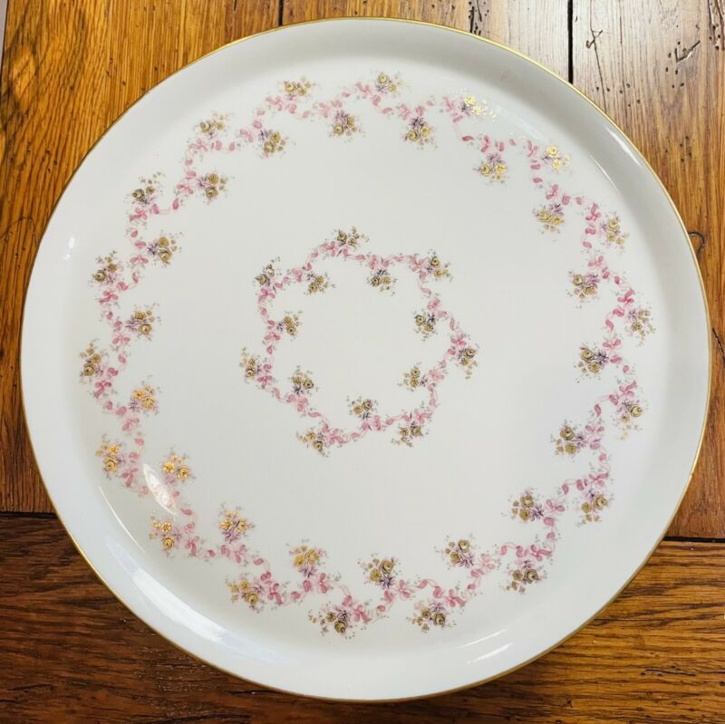 Limoges Gold Pink Ribbons & Roses, Footed Pedestal Cake Plate
