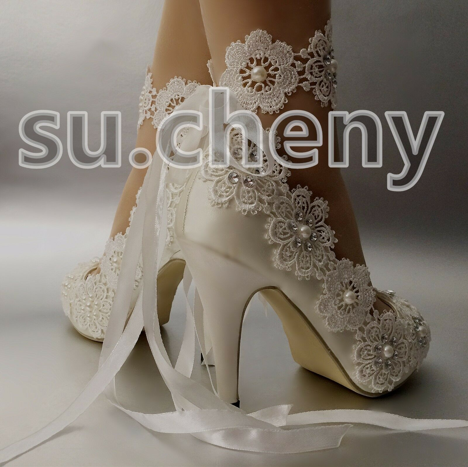 "a5a22d546aa Обувь для свадьбы su.cheny 3""4""Snowflake satin white ivory lace open toe heel  Wedding Bridal shoes - 162458388393 - купить на eBay.com (США) с доставкой  в ..."