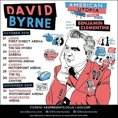 DAVID BYRNE AMERICAN UTOPIA TOUR 2018 UK CONCERT POSTER-New Wave,Talking Heads - $10.99