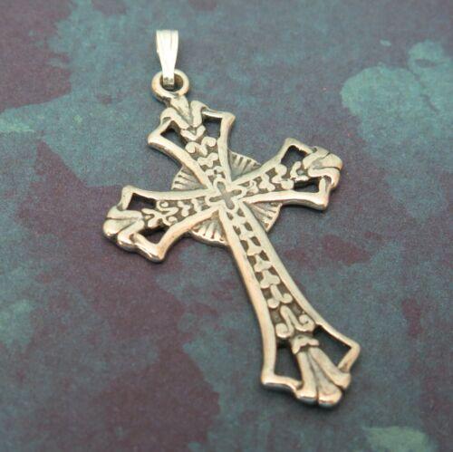 "Vintage Decorative Sterling Silver Religious Christian Cross Pendant 1-1/2"""