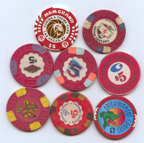 Eight Diff. $5 Casino Tokens (#7966)