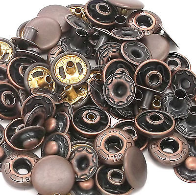 12 Pack Spring - 10 Pack Antique Copper 12 mm Spring Button Glove Snaps 1248-10
