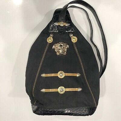 Vintage Versace Medusa Backpack Purse With Leather And Gold