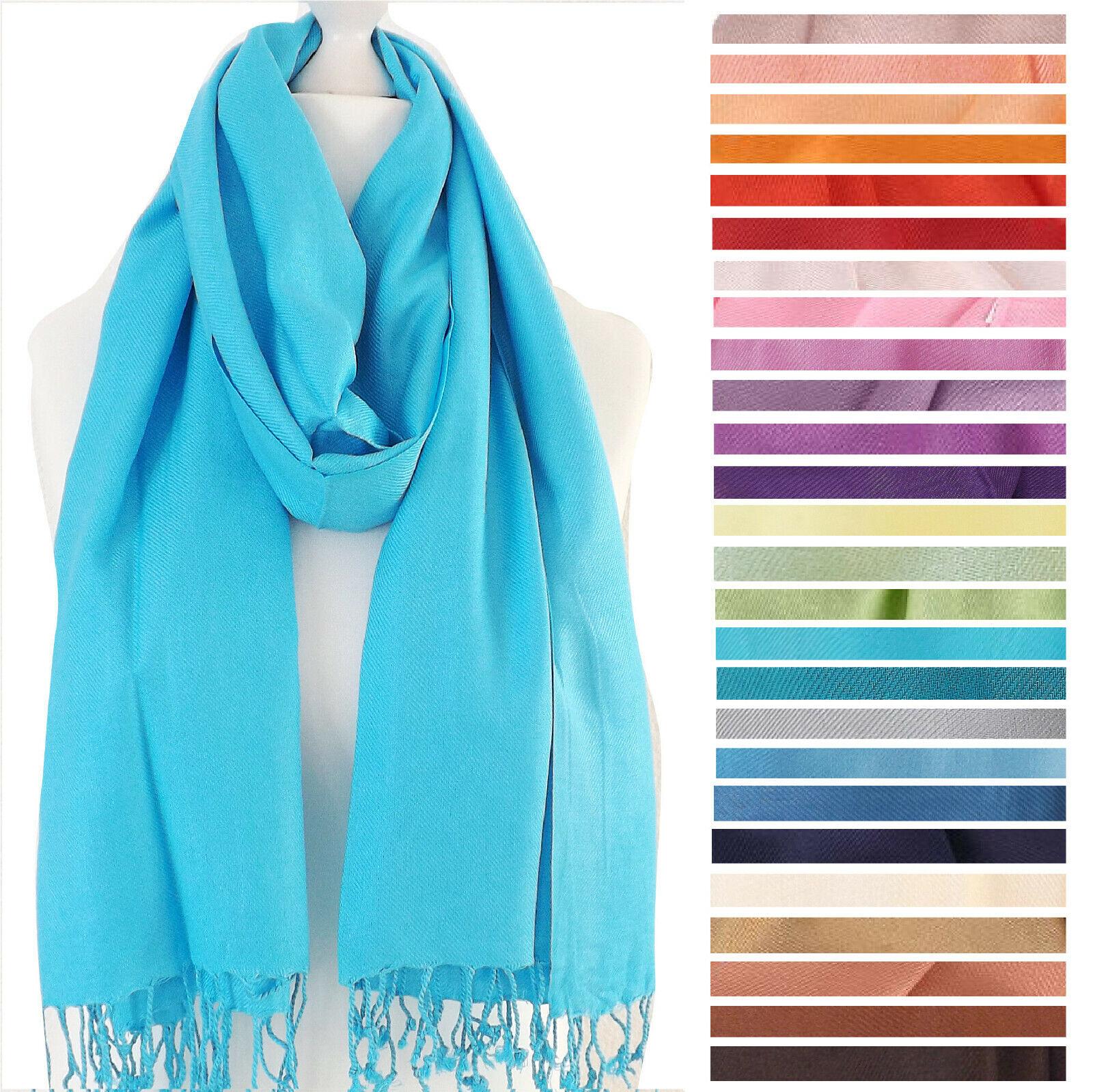 30 FARBEN - Pashmina Langschal Schal Fransen Damen unifarben einfarbig Viskose