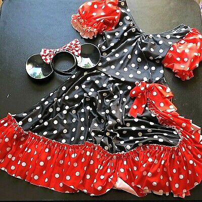 Mouse Ears And Tail Costume (Taffys Minnie Mouse Costume Dress Womens Medium Dress and Ears NO TAIL NO)