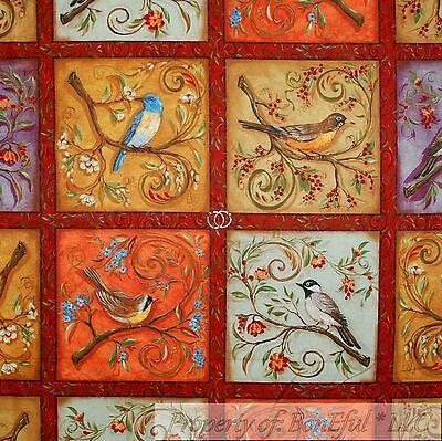 BonEful Fabric Cotton Quilt Panel Block Rainbow BIRD Flower Patchwork Red Green