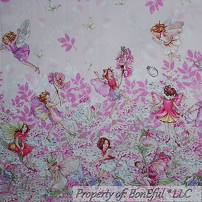 BonEful Fabric FQ Cotton Quilt Pink White Flower Girl Tooth Fairy Angel Border L Garden Cotton Quilt Fabric Border