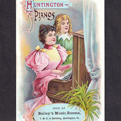 Huntington Piano 1800's Baileys Music Rooms Burlington VT Victorian Trade Card
